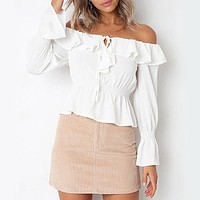 Ruffle Chiffon Sexy Off Shoulder Blouse Shirt Women Fall Peplum Tops Long Sleeve Elegant Belt Ladies Tops