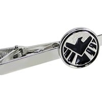 Shield Superhero S.H.I.E.L.D. Marvel Avengers Tie Clip Silver Black Bar Clasp
