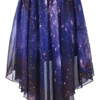 Romwe Women's Starry Night Print Asymmetric Galaxy Polyester Skirt-Blue-L