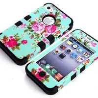 iPhone 4S Cases, Vogue Shop Beautiful Design 3in1 Hybrid Case Cover for Iphone 4 4S. Peony Flower Hard Cover for Iphone 4 4S 4G Three Layer Elegant Floral Flower Printed Design Pc+ Silicone Hybrid High Impact Defender Case Combo Hard Soft Cases Covers Scra