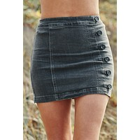Don't Push My Buttons Skirt (Charcoal)