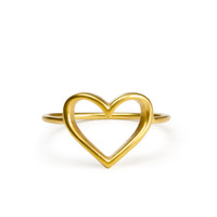 open heart ring, gold dipped - size 6 - Dogeared