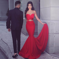 Red Sexy Long Prom Dress Sweetheart Out Cut Red Satin Mermaid Formal Evening Dress 2017