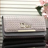 DIOR Women Fashion Leather Envelope Wallet Purse