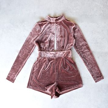 Long Sleeve Crushed Velvet Romper in Sable