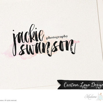 Premade watercolor logo design ink brush logo photography logo website logo blog logo business logo watercolor background watercolor logo