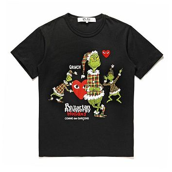 Men's CDG PLAY COMME DES GARCONS Play Fashion Black Re-tartan Re-energy Holiday Black T-Shirt DSM limited edition