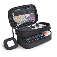MONSTINA Cosmetics Bag,Double Layer Makeup Bag, With Mirror Beauty Makeup Brush Bags Travel Kit Organizer,Cosmetic Bag Professional Multifunctional Organiser For Women (Double Layer, M-Black)