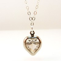 Simple Crystal Heart Necklace Charm on a Sterling Silver Chain
