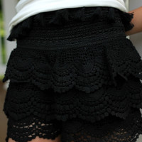 Ruffled Bottom Shorts - Black