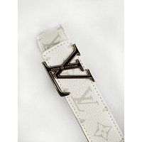 LV fashion casual belt for men and women hot sales printed belt White