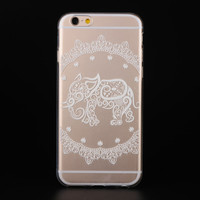 "Ultra Soft TPU Transparent Elephant Pattern Design Phone Case Cover Shell For iPhone 6 6s 4.7"" Inch"