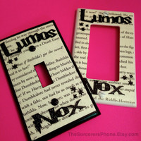 """HANDMADE. Harry Potter Inspired """"Nox Lumos"""" On Off Light Switch Cover Plate REAL book Page! Glitter words Standard and Wide Toggle available"""