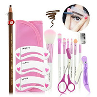 AUCH 3*Eyebrow Shaping Stencils + 1*Eyebrow Pencil(Random Color) + 7*Make-up Brushes + 1*Cosmetics Brush Bag+ 1* Eyebrow Scissors + 1* Brow-shaver Kit, Best Eyebrow Tools Set
