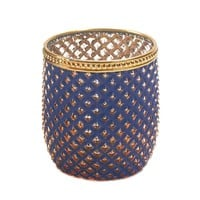 Dominion Purple And Gold Glass Candle Holder