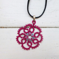 Tatted lace necklace, hot pink pendant, women's accessories, women's jewelry, handmade necklace, steampunk, victorian era, lace jewelry