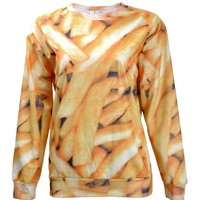 ZLYC Women Girls Fashion French Fries Chips Food Print Novelty Sweatshirt Top