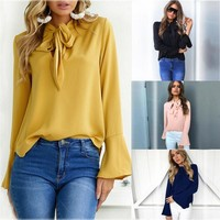 Long Sleeve Chiffon Tops Autumn T-shirts Shirt Loudspeaker [22466297882]