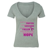 XtraFly Apparel Women's Supporting Fighters Breast Cancer Ribbon V-neck Short Sleeve T-shirt