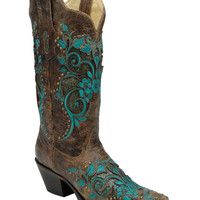 Corral Turquoise Inlay Studded & Embroidered Cowgirl Boots - Snip Toe - Sheplers