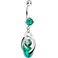 Green Cubic Zirconia Cosmo Dangle Belly Ring | Body Candy Body Jewelry