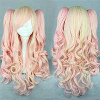 New Pink Mixed Wig Pretty Lolita Wig Gothic Lolita Pink Wig Ponytails Princess Cosplay Long Wavy Party Wig,Colorful Candy Colored synthetic Hair Extension Hair piece 1pcs WIG-385A