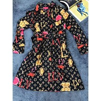 LV Louis Vuitton Popular Women Retro Print Long Sleeve Lapel Dress
