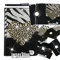 NEW! LEOPARD Zebra iPad 2 3 or 4 Case with Crystals, Rhinestones PU Leather Folio with 360 Rotating Case w/Stylus & XTRA BLING Detail!