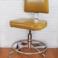 Vintage Steelcase Desk Chair // Midcentury Modern Office Swivel Chair // Mustard Yellow Vinyl and Polished Chrome // Office Furniture