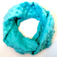 Turquoise Minky Toddler Tube Scarf Soft and Cozy Kids Infinity Scarves Young Girls Fashion Circle Scarves for Babies Soft Baby Scarf