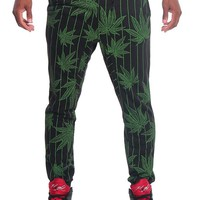 Pinstripe Leaf French Terry Jogger Pants