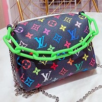LV New fashion multicolor monogram print leather chain shoulder bag crossbody bag handbag Black