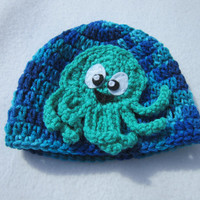 Blue Baby Hat with Octopus, Green Octopus on a Beanie Cap, MADE TO ORDER by Charlene, Photo Prop, Ocean Theme New Baby Hat