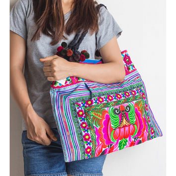 Orchid Hill Tribe Tote Bag with Hmong Embroidered in Blue