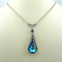 Victorian Crystal Blue Necklace by Fineartreflections on Etsy