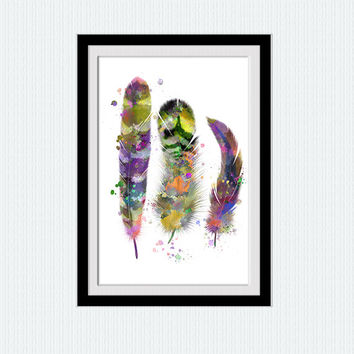 Feathers watercolor print Feathers colorful poster Home decoration Living room wall art Kids room decor Wall hanging decoration W239