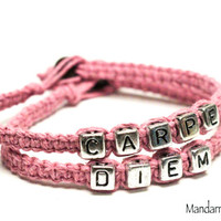 Carpe Diem, Seize the Day, Light Pink Handmade Hemp Jewelry, Gifts for Her, Quote of the Day, QOTD