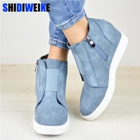 Women Boots Plus Size 34-43 Fashion Round Toe Ankle Boots Zip Lady Winter Boot Woman Shoes Black Brown blue sneakers women n229