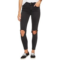 Free People High Rise Busted Skinny Washed Black