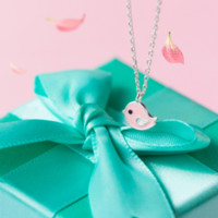 925 sterling silver cute Pink birds necklace D2738-0414 -Gifts box