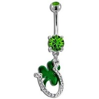 Green Clover & Horseshoe Belly Button Ring