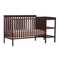 Stork Craft Milan 2-in-1 Fixed Side Convertible Crib with Changer - Espresso