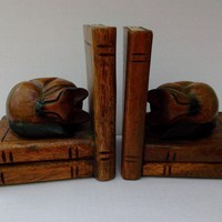 Carved Wood Cat Bookends Vintage Home Decor