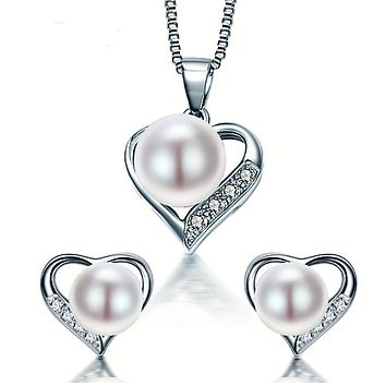 Heart Sterling Silver Pearl Set
