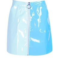 Lydia Vinyl Two Tone Zip Woven Mini Skirt | Boohoo