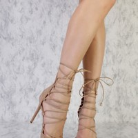 Camel Strappy Lace Up Tie Pointy ToeSingle Sole High Heels Suede