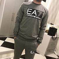 Emporio Armani Autumn and winter new fashion letter print  long sleeve top sweater and pants two piece suit men Gray