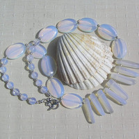 "Crystal Gemstone Statement Fan Necklace - Opalite & White Sea Glass - ""Ice Berg"""