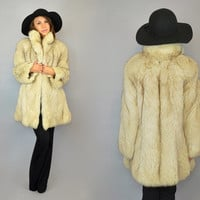 vtg 80's CHEVRON avant garde modern glam SILVER FOX fur coat jacket, medium-extra large