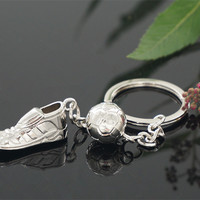 High Quality Soccer Shoes Football Ball Stainless Steel Metal Keychain Key Chains Ring Gift